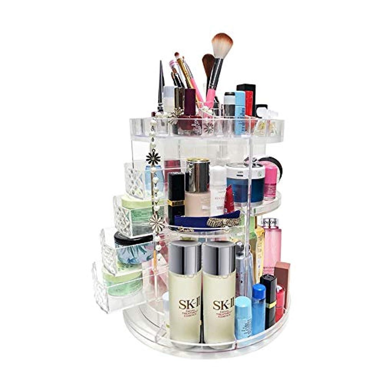 分析するヘクタール運営LEADGO コスメボックス 化粧品収納ボックス メイクボックス360度回転式 化粧品収納ケース 透明 大容量 引き出し付きストレージタワー