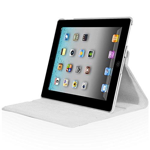 iPad2 iPad3 iPad4 360度回転式 スタンド仕様 レザー ケース 液晶保護フィルム付き ホワイト