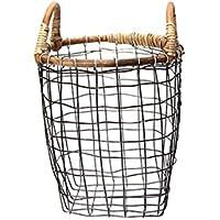 ラタントップ ワイヤーバスケット スモール RATTAN TOP WIRE BASKET small PUEBCO