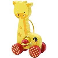 Yesido。Mini Cartoon Animals Push the車、木製Pull Alongおもちゃ、乳児幼児用 – push-along Toy D 31