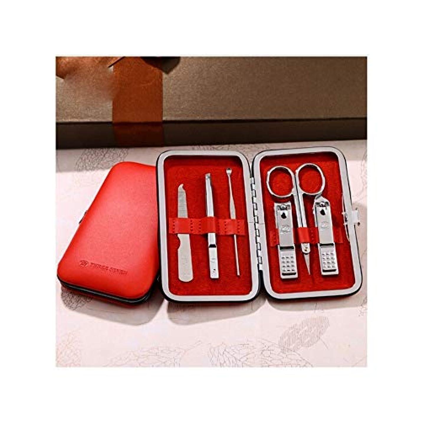 かもしれないオーバーコート大臣JIAYIZS ネイルはさみを設定ネイルナイフセットのデコレーションネイルケアツールネイルクリッパーはポータブルファッションセット[赤] 6セットを設定します。 (Color : Red)