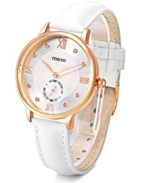Time100 ローマ数字文字盤 ラインストーン付 本革バンド ファッション レディース腕時計 W80099L (ホワイト)