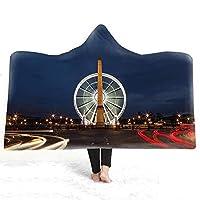 三井 エッフェル塔プリントフード付き毛布二層バスタオル子供大人 (Color : 12, Size : 200*150)