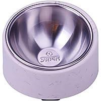 SuperDesign 犬 食器 猫 食器 ペット ボウル ステンレス 給食器 スタンド 傾斜がある 15度 食事をより気軽に メラミン製スタンド付き 滑り止め 取り外し可能 洗いやすい 食器洗濯機で洗える (L, わら色)