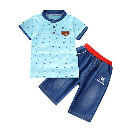 c7850225023161 Feiscat ベビー服 上下セット男の子 水玉柄 シンプル 英字 プリント スーツ 子供服 Tシャツ+