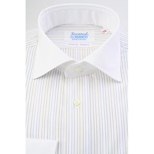 (スキャッティ) Scented 白地 ブラウン ブルー ストライプ 100番手双糸 クレリック ワイドカラー (細身) ドレスシャツ wd4150-3983
