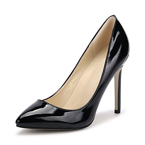 11CMヒール レディース エナメル 美脚 パーティー クラブ 変装 おおきいサイズ ポインテッドトゥ パンプス ハイヒール ピンヒール 靴 high heels ブラック 41