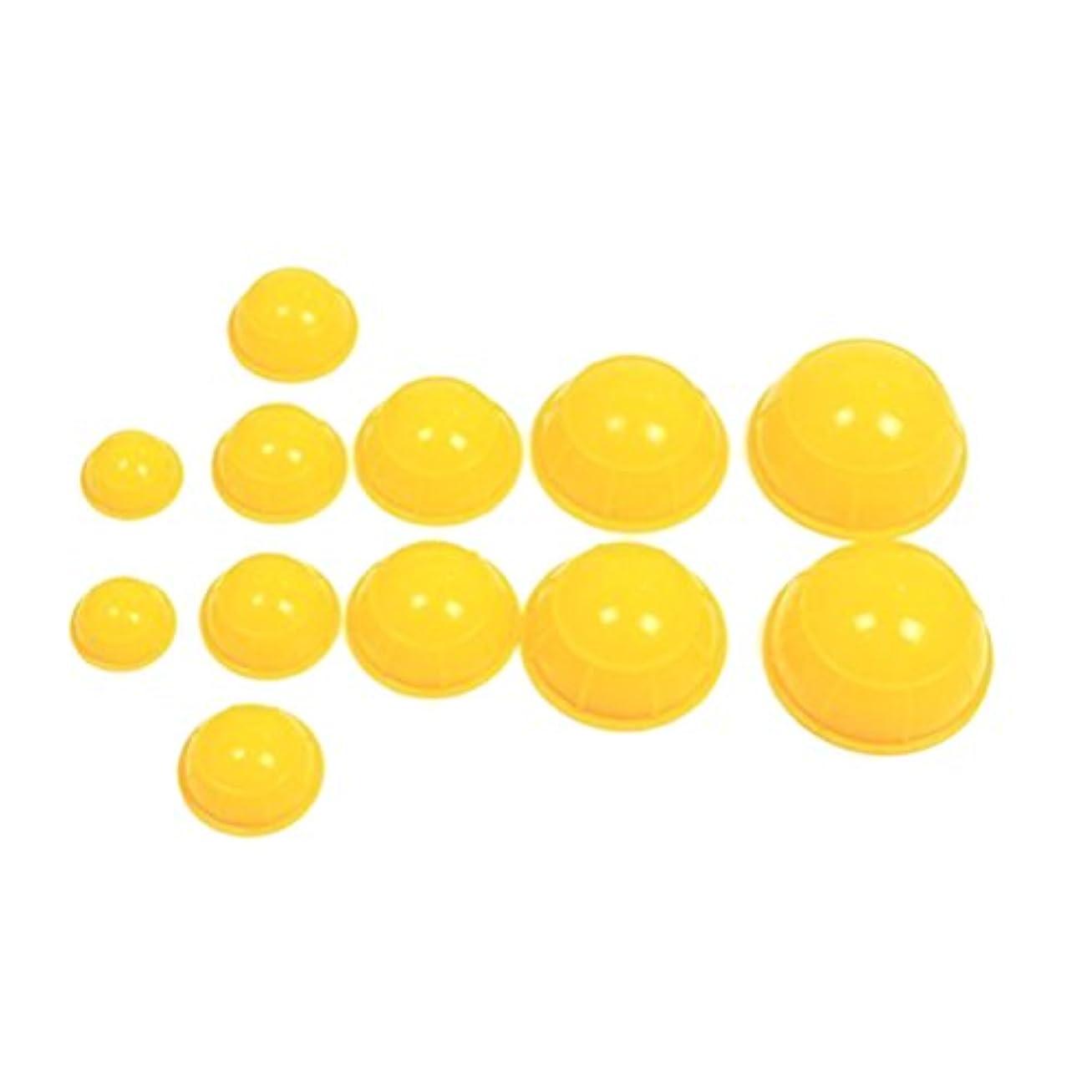 葉っぱブリリアントコアROSENICE シリコーンマッサージカッピングカップセットボディフェイシャルセラピーカッピングカップ12個(イエロー)