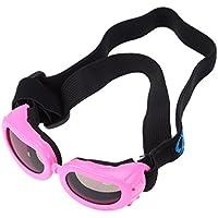UEETEK ペット犬 UVプロテクションサングラス 防風 防水 犬用折りたたみ式サングラス S(ピンク)