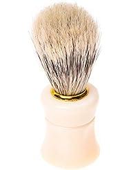 RETYLY 1個シェイビングシェービングブラシプラスチック製のハンドル+ブタの猪毛皮のひげの口ひげのブラシベージュ