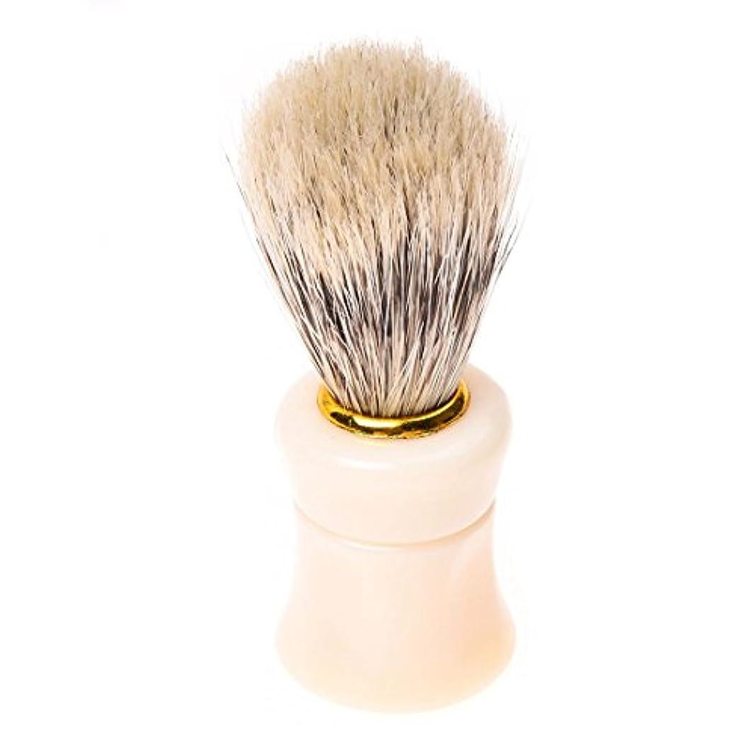 プラグ薬剤師毎年ACAMPTAR 1個シェイビングシェービングブラシプラスチック製のハンドル+ブタの猪毛皮のひげの口ひげのブラシベージュ