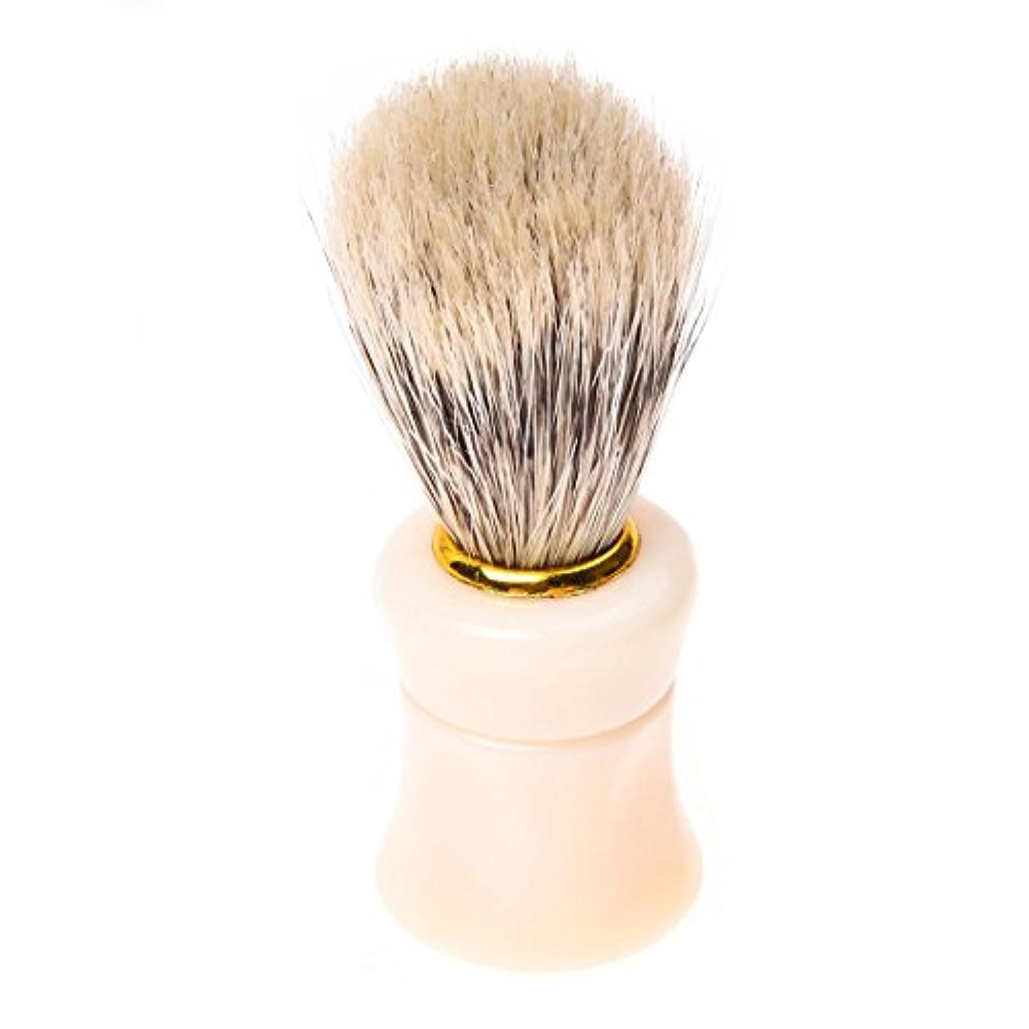 瀬戸際降伏縞模様のRETYLY 1個シェイビングシェービングブラシプラスチック製のハンドル+ブタの猪毛皮のひげの口ひげのブラシベージュ