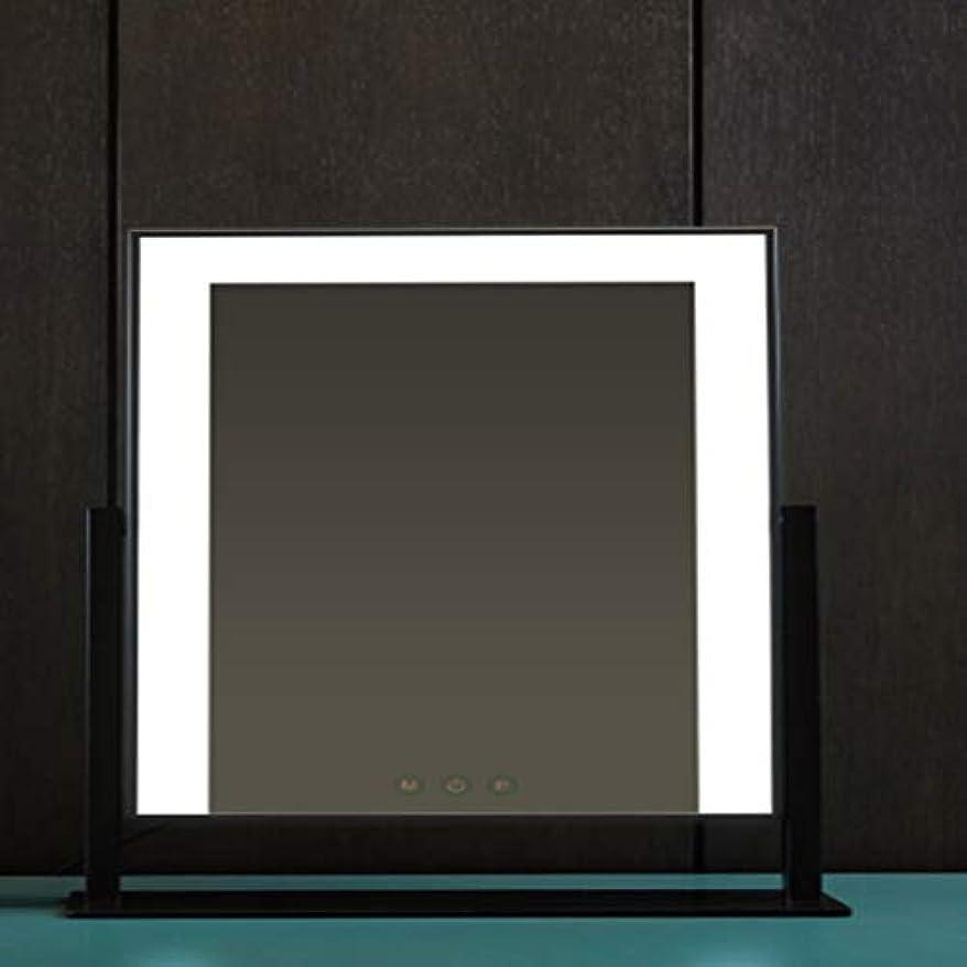 フィルライトled化粧鏡デスクトップ、照明付き充電ミラー、デスクトップ大型電球化粧鏡 (Color : Black)