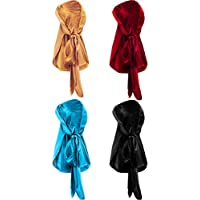 4 Pieces Men's Velvet Durag with Long Tail Soft Durag Headwraps for 360 Waves (Gold, Red, Light Blue, Black)