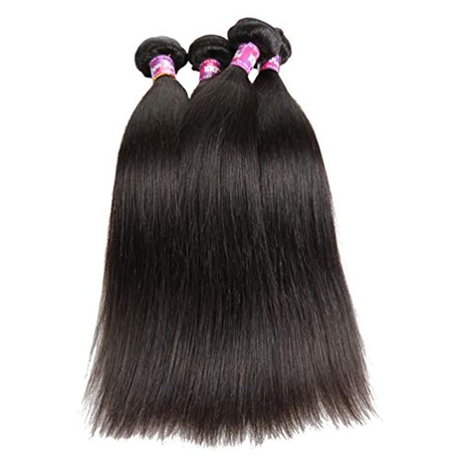 シロクマ道劣る100%加工されていないブラジルのバージンヘアストレートヘア本物の人間の髪の横糸ストレートヘアバンドルナチュラルカラー(3バンドル)