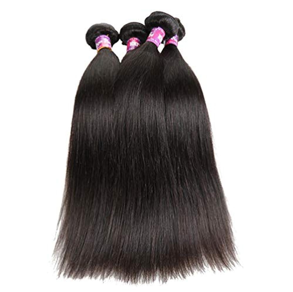 物理学者怠けた正確な100%加工されていないブラジルのバージンヘアストレートヘア本物の人間の髪の横糸ストレートヘアバンドルナチュラルカラー(3バンドル)