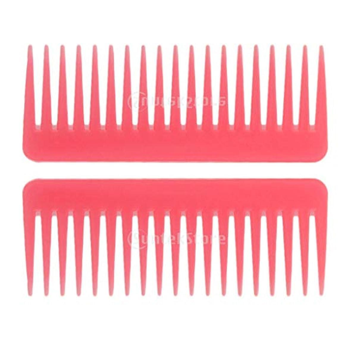 電話する上に中国ヘアブラシ ヘアコーム 静電気防止櫛 広い歯コーム マッサージ サロン 理髪店 ツール 2個セット