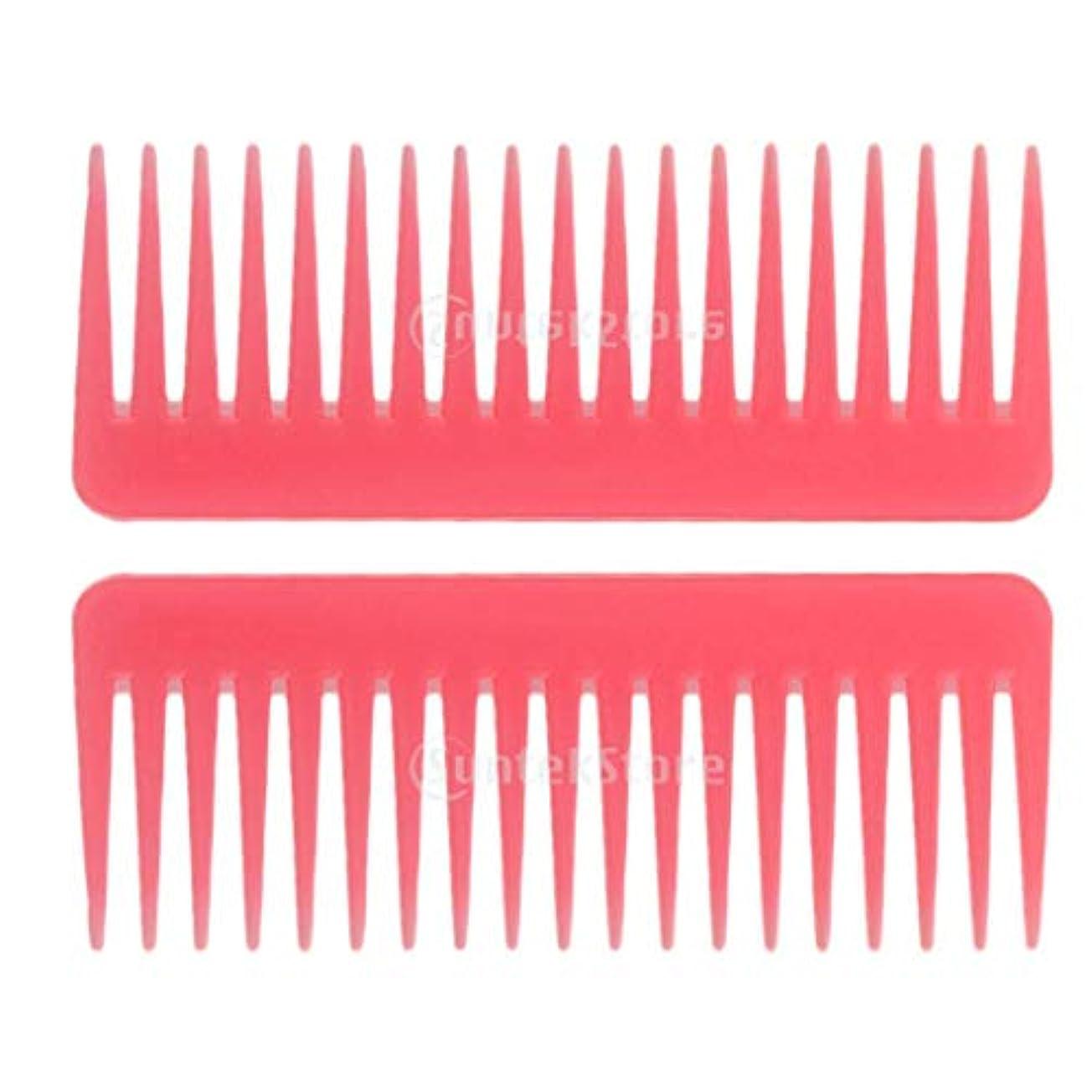 不均一ドル厚さヘアブラシ ヘアコーム 静電気防止櫛 広い歯コーム マッサージ サロン 理髪店 ツール 2個セット