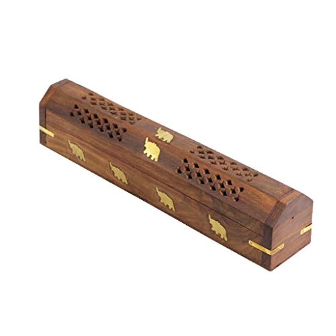 分析的古くなった光沢木製香ホルダーブラウン香スティックバーナーホルダーアッシュキャッチャーホームフレグランス装飾品香炉 (Color : Brown, サイズ : 12*2.2*2.36inchs)