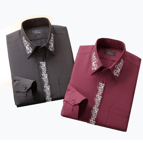 (フランコ コレツィオーニ)Franco Collezioni FC刺繍入りドレスシャツ2枚組 50329  ブラック&ワイン 3L