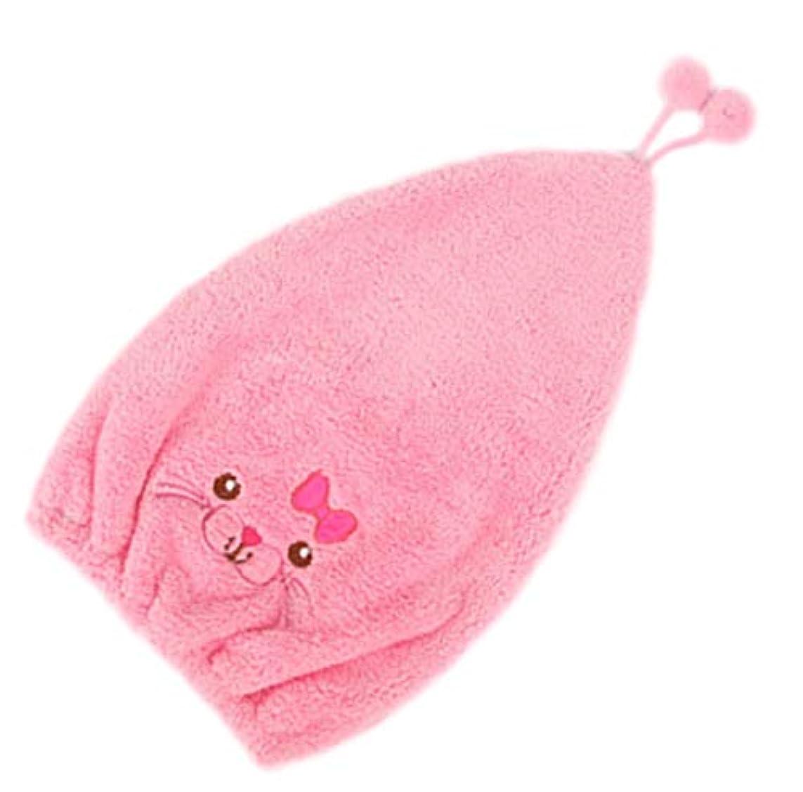 教育学石膏処分したプール タオルキャップ キッズ 子供 キャップ タオル ヘアターバン 吸水 きゃっぷ 女の子 バスキャップ (ピンク)