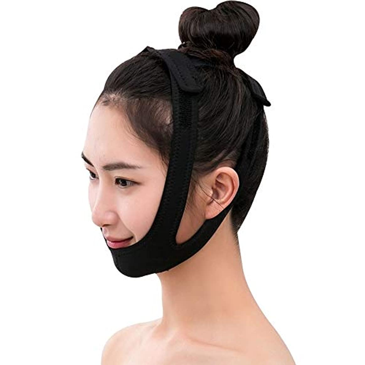 曇った司法熱意Jia Jia- 強力なフェイスリフトアーチファクト術後回復ライン彫刻フェイシャルリフト睡眠リフティングフェイス引き締めVフェイス包帯 - 黒 顔面包帯