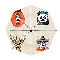 折りたたみ傘Hipster Animals Set Of Icons Lion Panda 自動開閉折りたたみ傘 自動開閉傘 日傘 ワンタッチ自動開閉 二重層 紫外線遮蔽率99.5% 190T高強度グラスファイバー 撥水加工 頑丈 8本骨 UVカット 耐強風 晴雨兼用