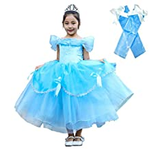 Dressy Daisy Girls Princess Dress with Arm Mitts Halloween Dress Up Costumes Party Dress Size 3T Blue