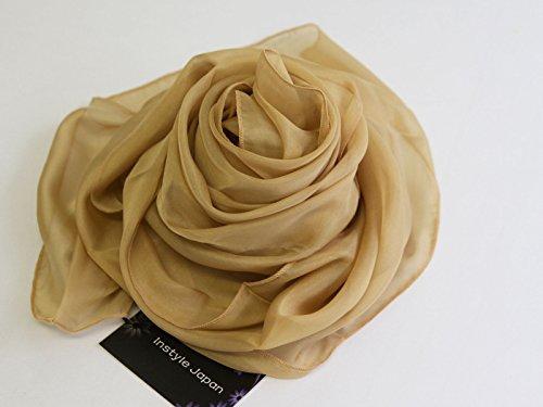 [選擇大小的顏色變化]×100%真絲圍巾大幅面失速防冷薄紗天然材料[造我日本]平紋綢UV保護