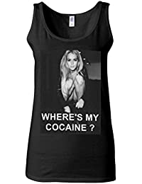 Where is My Cocaine Night Out Novelty Black Women Vest Tank Top-XXL