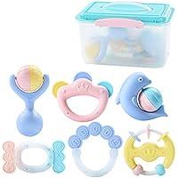 赤ちゃんのラトルとおもちゃのギフトセットハンドベルのラトル赤ちゃんの新生児のおしゃぶりおもちゃ、ラトルと歯の指輪新生児のための手のベルおもちゃ ( Color : A )