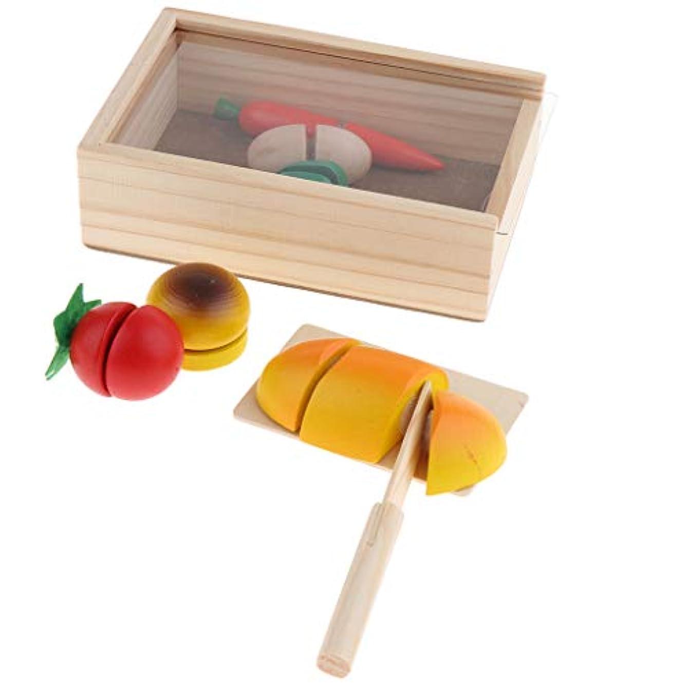 投資飢饉豊富木製  おままごと キッチン 切れる野菜 切る遊び 二人遊びセット 親子遊び  収納バスケット付き