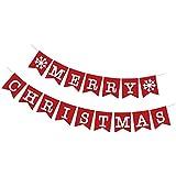 Perfeclan クリスマスパーティー バナー スノーフレーク ガーランド ハンギングデコレーション 2色選べ - 2
