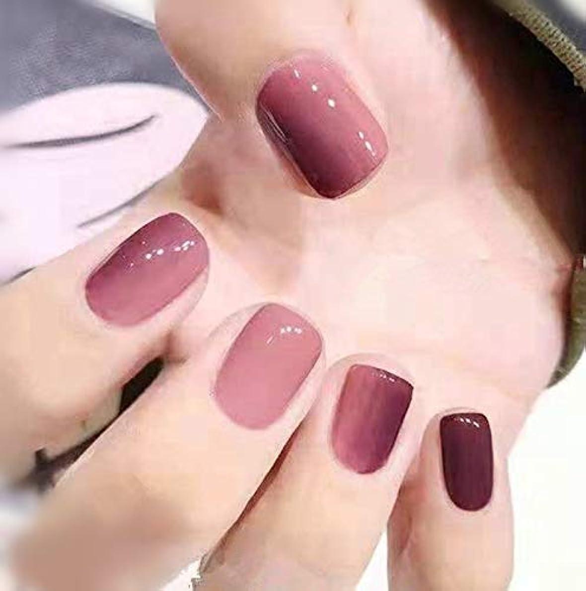 慢性的きちんとしたセージVALEN Nail Patch 24枚入 原宿 和風 夢幻 手作りネイルチップ 可愛い 優雅ネイル 粉紫の漸変色 和装 ネイル ネイル花嫁
