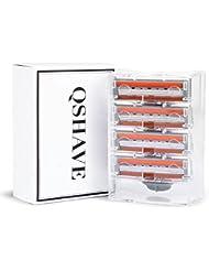 QSHAVEのX3 (3枚刃) カミソリ替刃カートリッジは米国製で、QSHAVEブルーシリーズのカミソリにお使いいただけます (4つ入り)