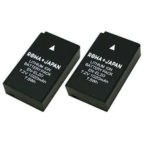 ロワジャパン社名明記のPSEマーク付純正充電器対応2個セット Nikon ニコン 1 J1 J2 J3 S1 COOLPIX A P1000 の EN-EL20 EN-EL20a 互換 バッテリー