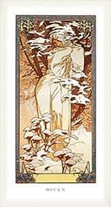 ポスター アルフォンス ミュシャ 四季 -冬- 1900年 額装品 ウッドベーシックフレーム(ホワイト)
