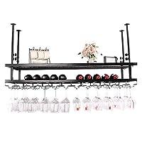ハンギングワインボトルラック鉄ヨーロッパの多機能ゴブレットスタンドバーリビングルームKTVラックの高さ調節可能 (色 : 黒, サイズ さいず : 120x30cm)