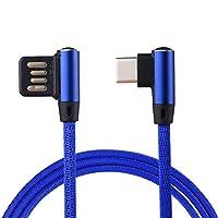XulilinQ ギャラクシーS8&S8 + / LGのG6 / Huawei社のP10&P10プラス(ブラック)の場合は、充電ケーブルUSB-C /タイプCへの電話の充電器1メートル2.4A出力のUSBダブルエルボーデザインナイロンウィーブスタイルデータ同期 (色 : Dark Blue)