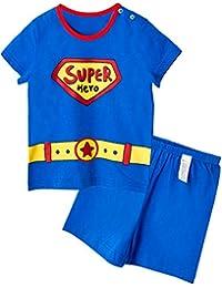 Unifriend Tシャツ 半ズボン パンツ ショート キッズ 男児 綿100% オーガニック パジャマ ルームウェア パンツ ねまき 上下セット スーパーボーイ-140cm