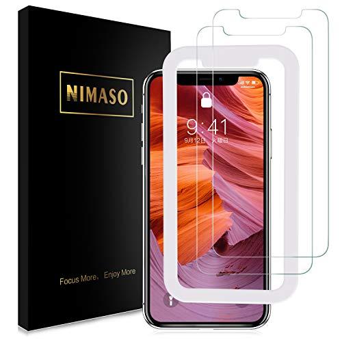 【2枚セット】Nimaso iPhoneXS Max用 強化ガラス液晶保護フィルム【ガイド枠付き】 日本製素材旭硝子製 3D Touch対応/硬度9H/高透過率 (iPhone XS Max用)