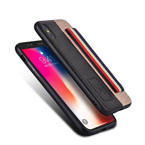 Hokonui iPhone XS ケース iPhone X ケース 薄型 ICカード収納 TPU+レザー 耐衝撃 滑り防止 指紋防止 スマホケース 携帯カバー(iphone XS/X, 黒)