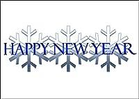 新しい年グリーティングカード–Happy New Year–hny100。ビジネスGreeting Card withスノーフレークとHAPPY NEW YEAR INブルーカラー。ボックスセットが25グリーティングカード、26ホワイトwithシルバー箔裏地付き封筒。