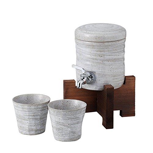 万葉庵 ファミリーサーバーセット 木台付青磁刷毛 40-1-43