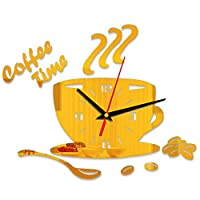 hamulekfae-家の装飾DIYコーヒータイムカップ豆装飾的なミュートクォーツ壁時計ステッカー - Golden