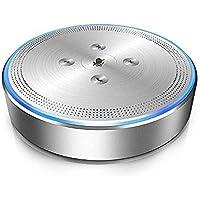 スピーカーフォン eMeet マイクスピーカー ワイヤレススピーカーフォン 全指向性360°/8m集音 高音質 Bluetooth 4.1 USB接続 遠隔会議用 各通話アプリ対応 ポータブルオーディ OfficeCore M1 シルバー
