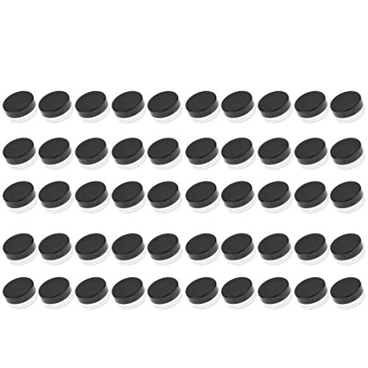 ずるい送信する低下D DOLITY 50個 クリームジャー クリームケース プラスチック 化粧品 詰替え 容器 旅行用 小分け 3g - ブラック