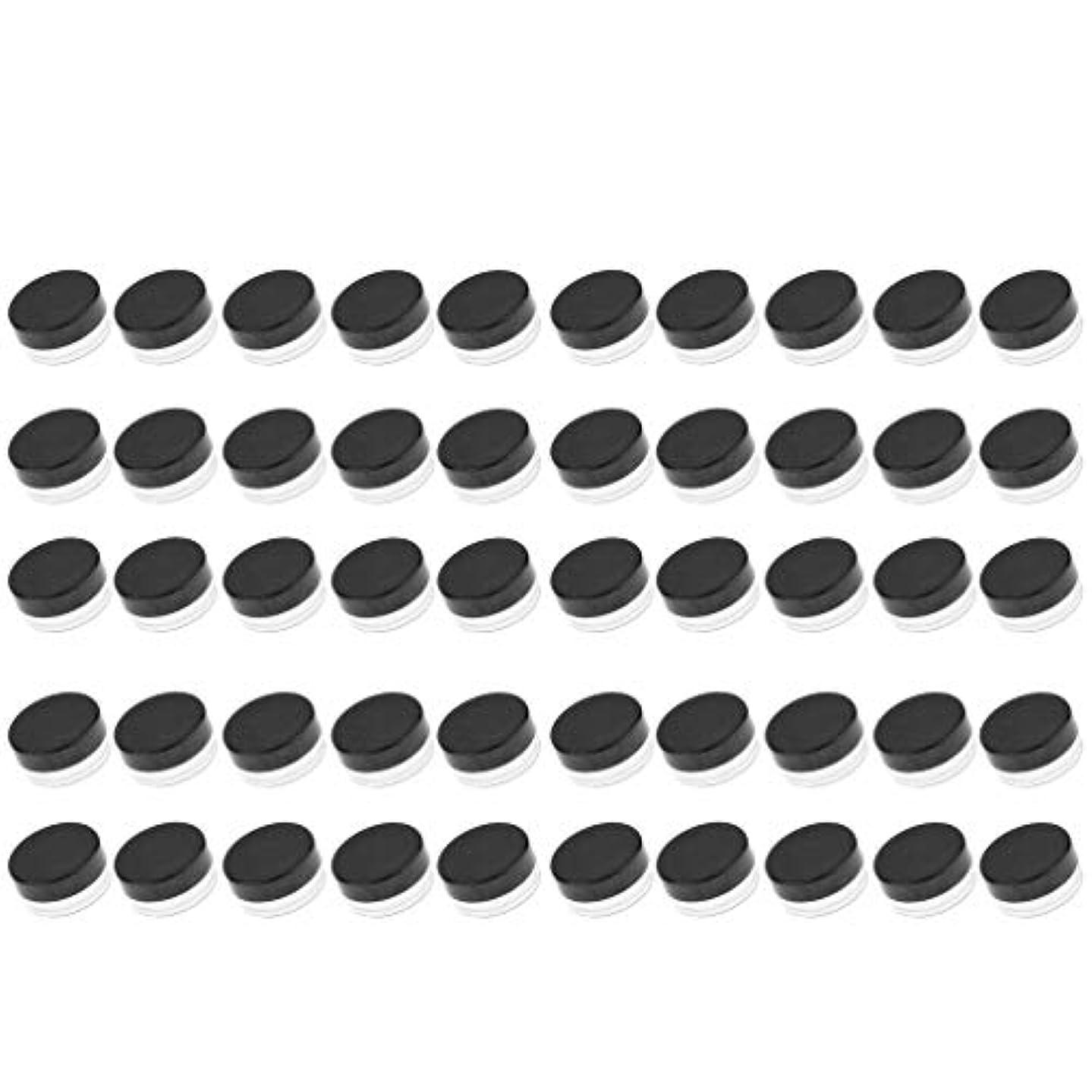 欠員俳優ドリルD DOLITY 50個 クリームジャー クリームケース プラスチック 化粧品 詰替え 容器 旅行用 小分け 3g - ブラック