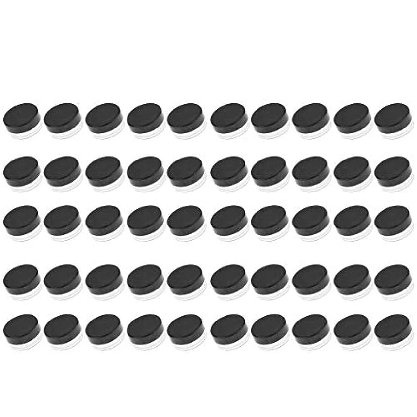 ぬるい遵守する実証するD DOLITY 50個 クリームジャー クリームケース プラスチック 化粧品 詰替え 容器 旅行用 小分け 3g - ブラック