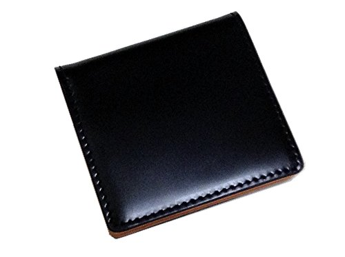 コードバン(馬尻革)×本ヌメ革 BOX型小銭入 (ブラック)
